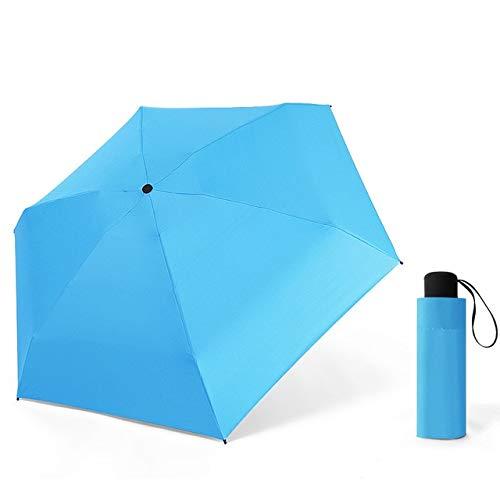 Mini Paraguas Plegable Ligero Lluvia Mujer Cápsula Portátil 5 Paraguas Plegable para Mujer Sombrillas A Prueba de Viento Parasol - Azul