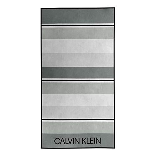 Calvin Klein Tonal Stripe Toallas de Playa, Algodón, Gris, 91x183 cm