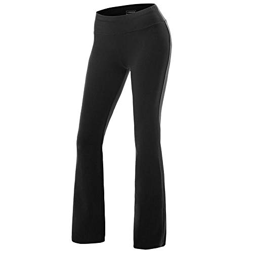 FITTOO Women Casual Boot Cut Yoga Pants Ladies Stretch Softy Trousers Pilates Workout Gym leggingsBlackSmall