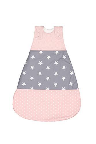ULLENBOOM ® Baby Schlafsack Winter 0 bis 4 Monate 56/62 Rosa Grau (Made in EU) - Schlafsack Baby ganzjährig für Frühling, Herbst und Winter, Babyschlafsack mit Motiv: Sterne