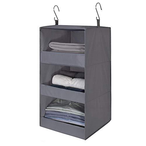 GRANNY SAYS 3-Shelf Hanging Closet Organizer Collapsible Hanging Closet Shelves Hanging Organizer for Closet RV Gray 236 H X 122 W X 122 D