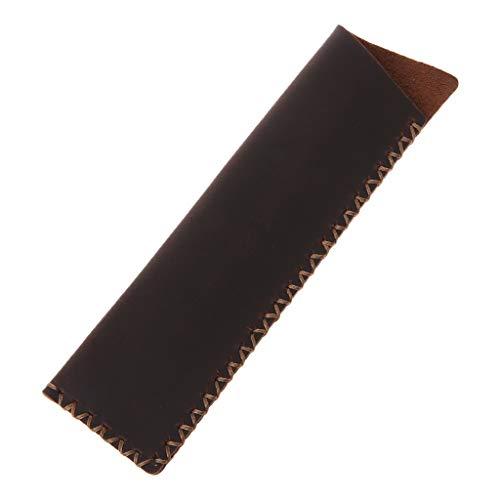 VIccoo Retro Lederen Pen Houder Hoek Balpen Beschermende Mouw Cover Handgemaakte Cross gestikte Fountain Pouch Voor Enkele Pen - Wijn Rood