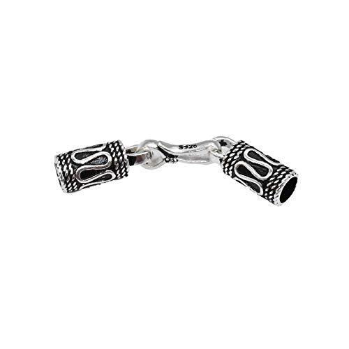 Tapa trenzada de plata de ley, cierre de cordón de cuero para pulsera con cierre de gancho, cierre de cordón de plata 925