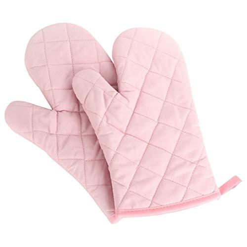 Panegy Hitzebeständig Ofenhandschuhe Verdickte Hitzeresistente Topfhandschuhe Topflappen Backhandschuhe, Baumwolle, 1 Paar Rosa