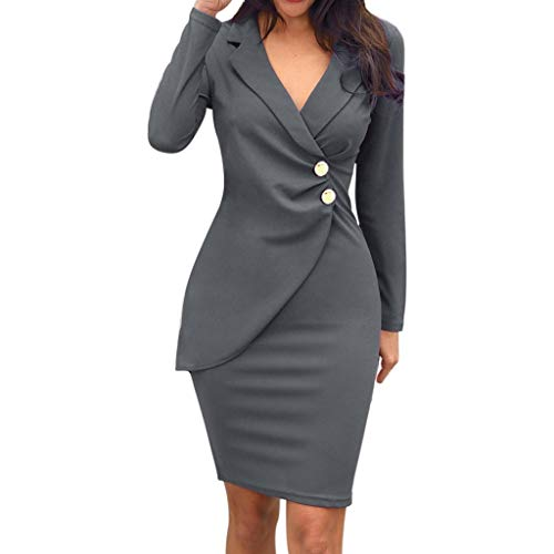 Luckycat Damen Elegant Etuikleider festliches Cocktail Bleistiftkleid Knielang Business Damen Business Etuikleid Reverss mit Krawatte Langarm Taste Schößchen Kleid