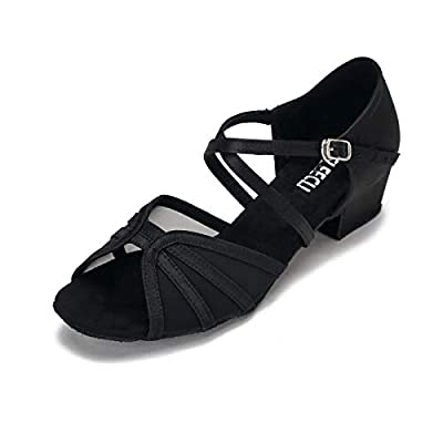 Black Low-Heel Ballroom Dance Shoes for Women