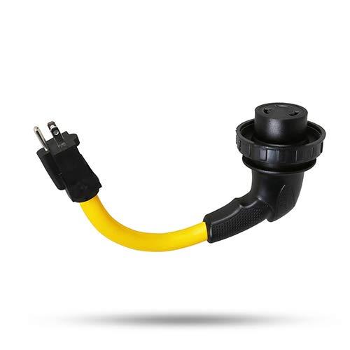 "TREKPOWER Dogbone Heavy Duty RV Power Adapter, 15Amp to 30Amp with Super Ergonomic Design Upgrade 90° degree Twist Lock,12"",10/3,STJW,(5-15P) to (L5-30R) ETL,SA certification"