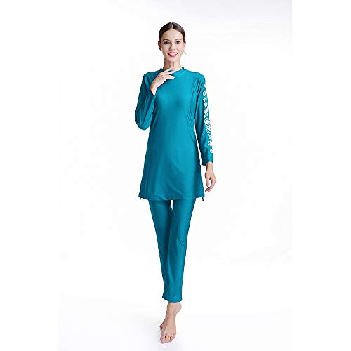 Afdrukken Lange badmode Moslimvrouwen Zwembroek Bloem met Hijab Groot formaat Zwemkleding Volledige dekking 3st M099