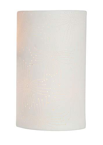 GILDE Tischlampe Blume - Dekoration aus Porzellan mit Lochmuster H 28 cm