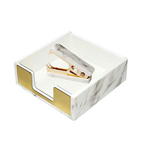 MultiBey Sticky Notes Pad Holder Memo Dispensers Rose Gold with Marble White Texture Desk Supplies Organizer Accessories (Mable Gold)