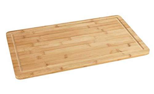 WENKO 53032100 Herdabdeckplatte Bambus, Küchenbrett, Schneidebrett mit Saftrille, Bambus, 52 x 1.5 x 30 cm, Braun