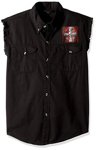 Hot Leathers Men's Celtic Cross Sleeveless Denim (Black, X-Large)