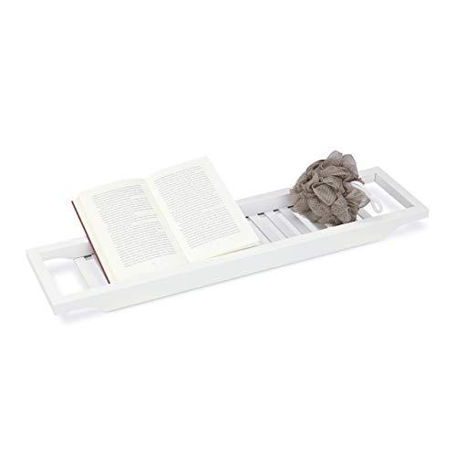 Relaxdays badrek van bamboe, badkuipplank, dienblad voor badkuip, h x b x d: 4 x 65 x 15 cm, wit gelakt