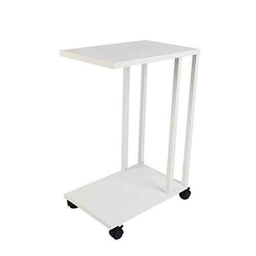 C Shaped Side End Table,Mobile Sofa/Living Room Small Side Table,with Lockable Wheels,Mobile Snack Table for Coffee Laptop Tablet,That Slide Under for Small Spaces(White)