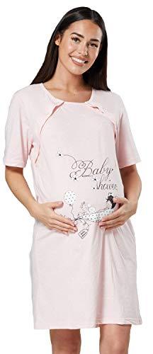 HAPPY MAMA Mujer Camisón para el Parto Premamá Lactancia 1502 (Polvo Rosa, 40-42, XL)