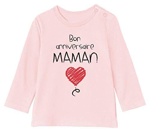Green Turtle Cadeau pour Maman - Bon Anniversaire T-Shirt Bébé Unisex Manches Longues 6-12M 66/76cm Rose Pale