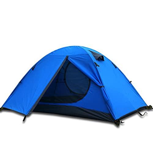 JUNMAIDZ Tienda 3 Personas Polos de Aluminio de Doble Capa Impermeable a Prueba de Viento Tienda de campaña a Prueba de Viento Carpas de Camping Playa Tienda (Color : 3 Person Blue)