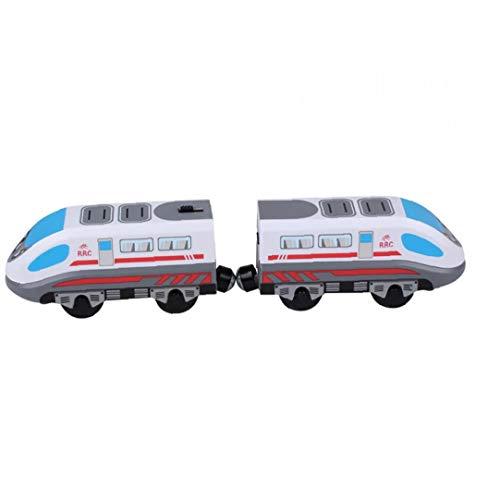 linjunddd Tren de Juguete del Carro de Pista magnética Modelo Locomotora eléctrica de Alta Velocidad de Madera de Juguete de Regalo con Pilas de Niños para niños Productos de Juguete