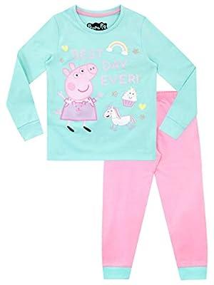 Peppa Pig Pijamas de Manga Larga para niñas Unicornio Ajuste Ceñido Multicolor 3-4 Años