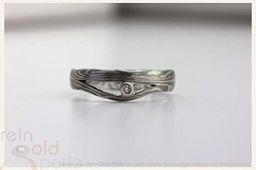 ♡ Mokume Gane Ring - Palladium & Silber ♡ In Handarbeit gefertigter Ring aus der Serie: - Mokume-Gane -
