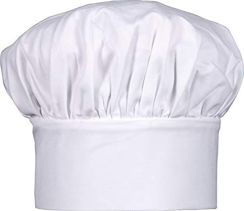 Ulife Mall Professionel Kochmütze Unisex Koch Hut Poly Baumwolle Gastromützen mit Einstellbar Gummiband Kochhaube Uniformmütze für Männer, Frauen, Kochen, Backen, Faschingsfest, Mottoparty - Weiß