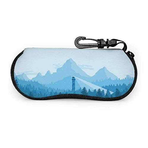 Phare dans la neige lunettes de soleil avec boucle de verrouillage sac souple ultra léger tissu de plongée fermeture éclair étui à lunettes