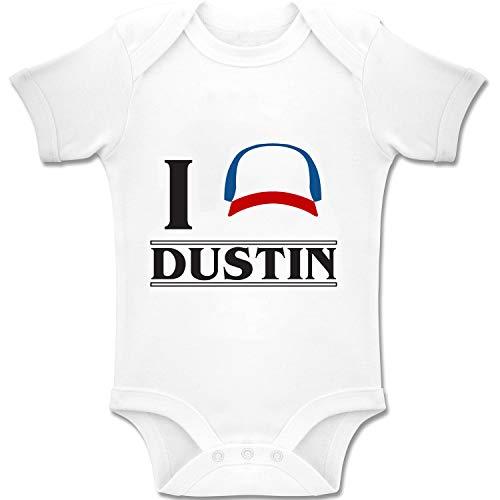 Acen Merchandise Stranger Things I Love Dustin - Baby Romper Body in Cotone Biologico per Ragazzi e Ragazze 0-24 Mesi