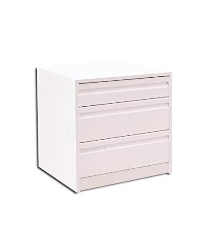 Cajonera para Armario, Completamente Montada, Frente Postformado, Color Blanco, 40 cm Ancho x 45 cm Fondo - 3 Cajones (1-Cajón 8 cm)+(2-Cajones 16 cm). Alto Total 48,8 cm.
