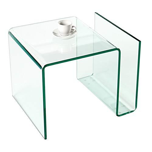 Invicta Interior Extravaganter Glas Couchtisch FANTOME Beistelltisch mit Ablagefach für Magazine transparent