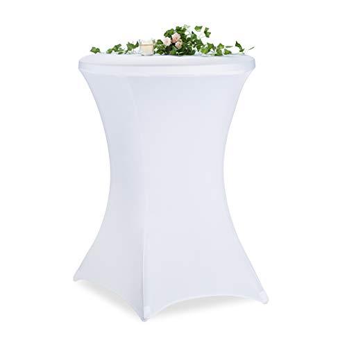 Relaxdays Stehtischhusse, ∅ 70-75 cm, eleganter Stehtischüberzug, waschbar, Stretch Tischhusse für Bistrotisch, weiß