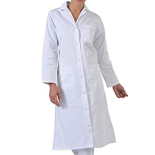 Bata de Laboratorio médico Abrigo Abrigo de Mujer, Abrigo Blanco para Damas, Adecuado para Estudiantes de la Escuela Laboratorio de Ciencia Enfermera Cosplay Vestido de algodón vpass