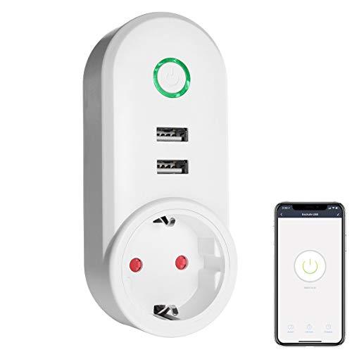 Smart Plug Wi-Fi Smart Plug compatibile con Amazon Alexa, Echo, Google Home, con 2 prese USB da 2,1 A (non richiede hub), controllo App Smart Life (confezione da 1)