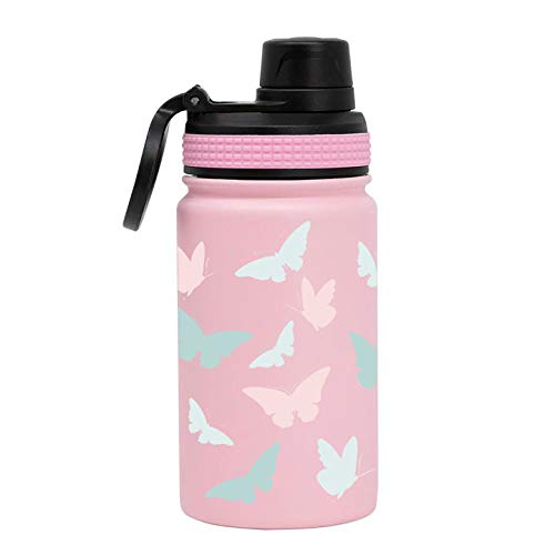 MIRA 12 oz Stainless Steel Kids Water Bottle - Metal Thermos Flask Keeps Cold for 24 Hours, Hot for 12 Hours - Double Wall Vacuum Insulated - Leak Proof BPA-Free Lid - Butterflies