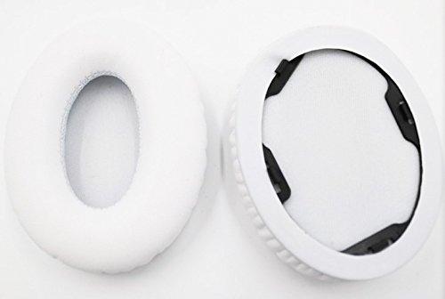 95mm × 65mm Vervanging ovaal zwart wit leer Kussen Oorkussens oorkussens oorkussens koptelefoon hoofdband hoofdband balk deksel kussen reparatie onderdelen fit Voor beats monster studio 1.0 koptelefoon headset, Kleur: wit