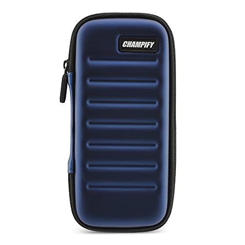 Champify® Darttasche blau mit Haltesystem gegen Verrutschen der Dartpfeile | Hard-Case zum Schutz für 3 Steeldarts oder Softdarts und vielen Taschen für Dart Flights und weiteres Darts Zubehör