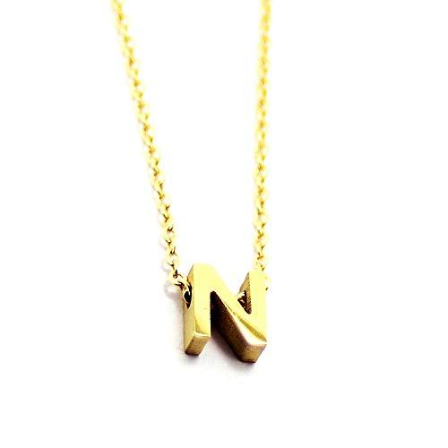 Anartxy N Collar Alfabeto de Letras y Inicial Nombre de Acero Color Oro Mejor Regalo