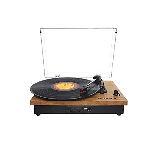 PRIXTON Studio - Tocadiscos de vinilo Vintage Reproductor de Vinilo y Reproductor de Musica Mediante Bluetooth USB Tarjeta SD y Radio, 2 Altavoces Incorporados, Tapa Antipolvo, Diseño Grano de Madera