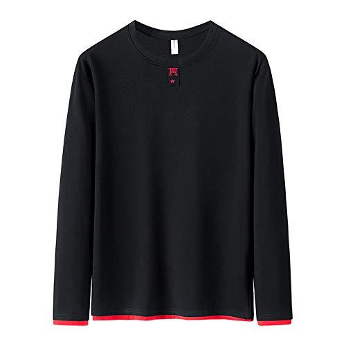 Langärmeliges T-Shirt für Herren, koreanischer Rundhalsausschnitt Gr. L, Schwarz