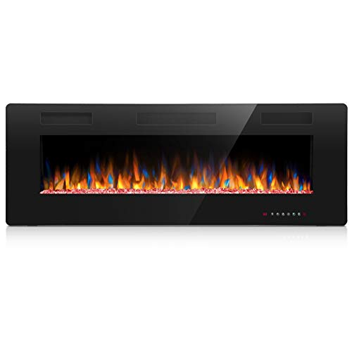 Joy Pebble Electric Fireplace, in-Wall Recessed and Wall Mounted 750/1500W Fireplace Heater, Touch Screen, Remote Control with Timer, Black (50 inch) Décor Dining electric Features Fireplaces Home Kitchen