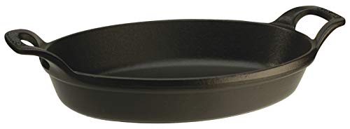 Staub 40509-341-0 stapelbare Auflaufform, oval 28 cm, 1,6 L mit mattschwarzer Emaillierung im Inneren der Auflaufform, schwarz