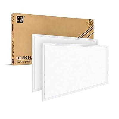 Led Panel ASD Dimmable Edge-Lit Flat Panel 40W 2x4 Led Flat Panel Light 3500K Warm White Troffer Light 4476Lm Commercial Drop Ceiling Lights Led Ceiling Light Standard Thin Panel UL Listed DLC 2-Pack