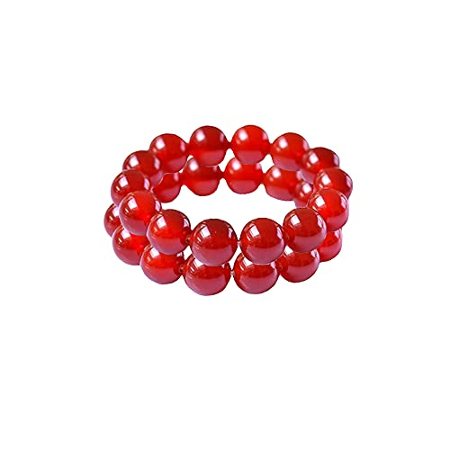 2021 Newly Upgraded 2Pcs Red/Yellow J Asper Body Cleansing Bracelet, Cleansing Wealth Bracelet, Genuine Natural Jade, Anti-Fatigue Beads for Reiki Healing Crystal Healing Stone (6 mm,Red)