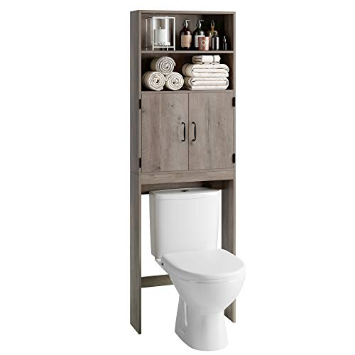 HOMECHO Over-The-Toilet Storage Cabinet, 2-Doors Bathroom Organizer with 4 Shelves, Space-Saving Toilet Storage Rack - 24.8 x 7.9 x 76.8 inches, Grey