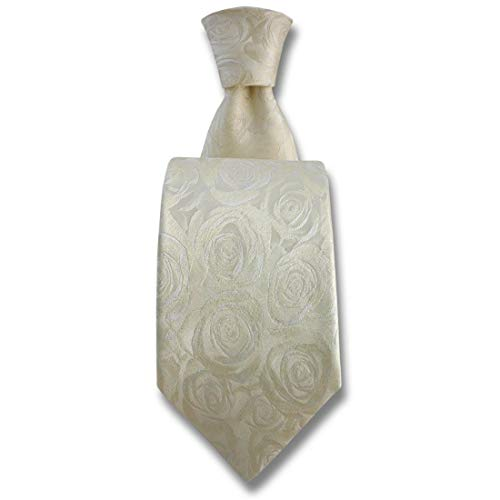 Robert Charles. Cravate. Fleur de rose, Soie. Blanc, Fantaisie. Fabriqué en Italie.
