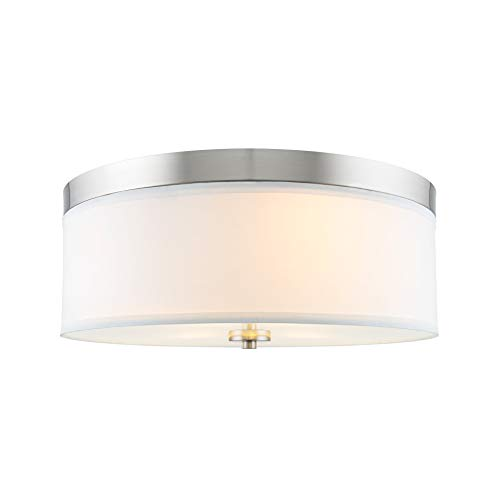 Kira Home Walker 15' Mid-Century Modern 3-Light Flush Mount Ceiling Light, White Fabric Shade + Round Glass Diffuser, Brushed Nickel Finish