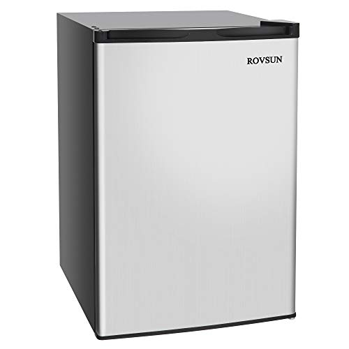 ROVSUN 3.0 CU.FT Upright Freezer with Reversible Stainless Steel Single Door, 2 Shelves (3.0 cu.ft.)