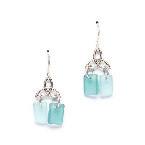 Sea Glass Celtic Knot Earrings, in the Breeze Palette