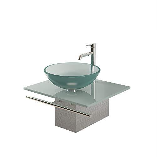 Alpenberger Designer Glaswaschschale Ø 42 cm aus Sicherheitsglas ESG 12 mm inkl. Milchglasplatte 60 cm Edelstahlkasten und Handtuchhalter | Perfekte Waschschale Aufsatzwaschbecken Waschtisch