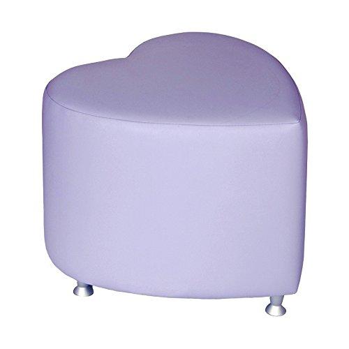 Kaikoon Pouf – Pouf Cube Forme de cœur Lilas avec Patins en Aluminium