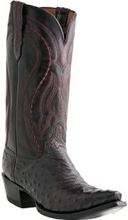 Lucchese Men's Handmade 1883 Full Quill Ostrich Montana Cowboy Boot Medium Toe Black Cherry 7.5 D(M) US